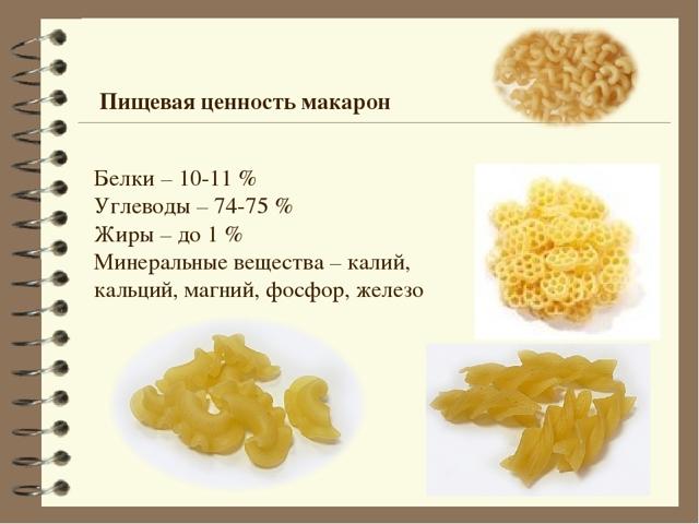 макароны состав